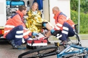 ambulance after bicycle accident